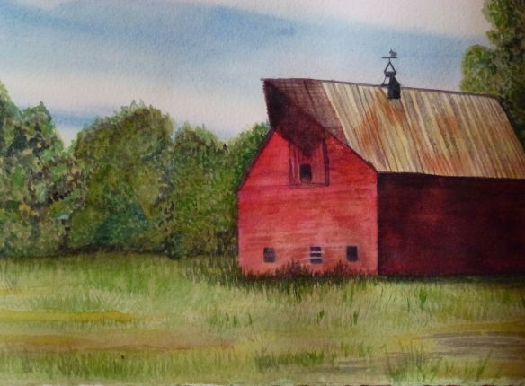 Red Barn Watercolor Painting